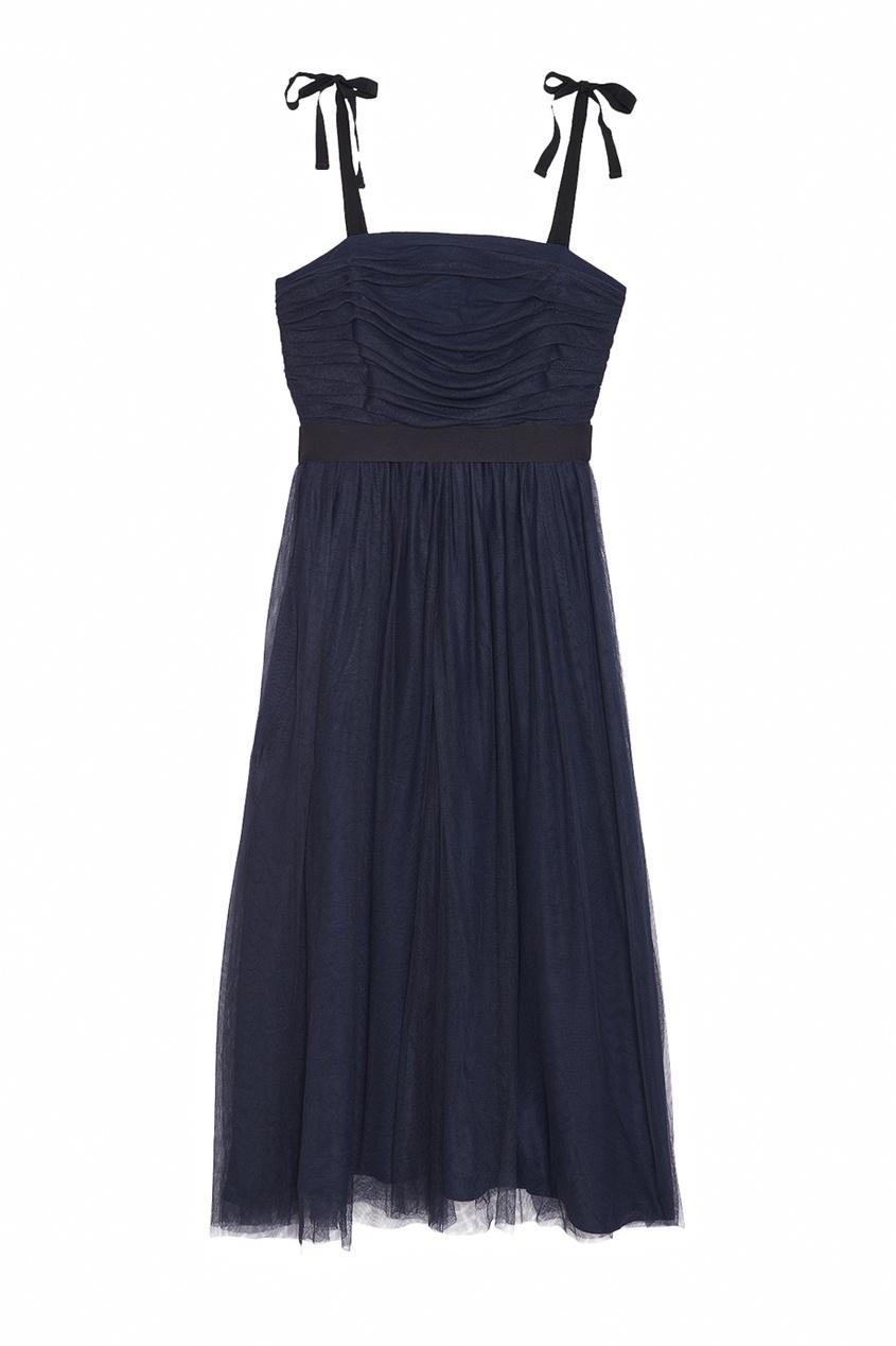 Черное платье с завязками и драпировкой