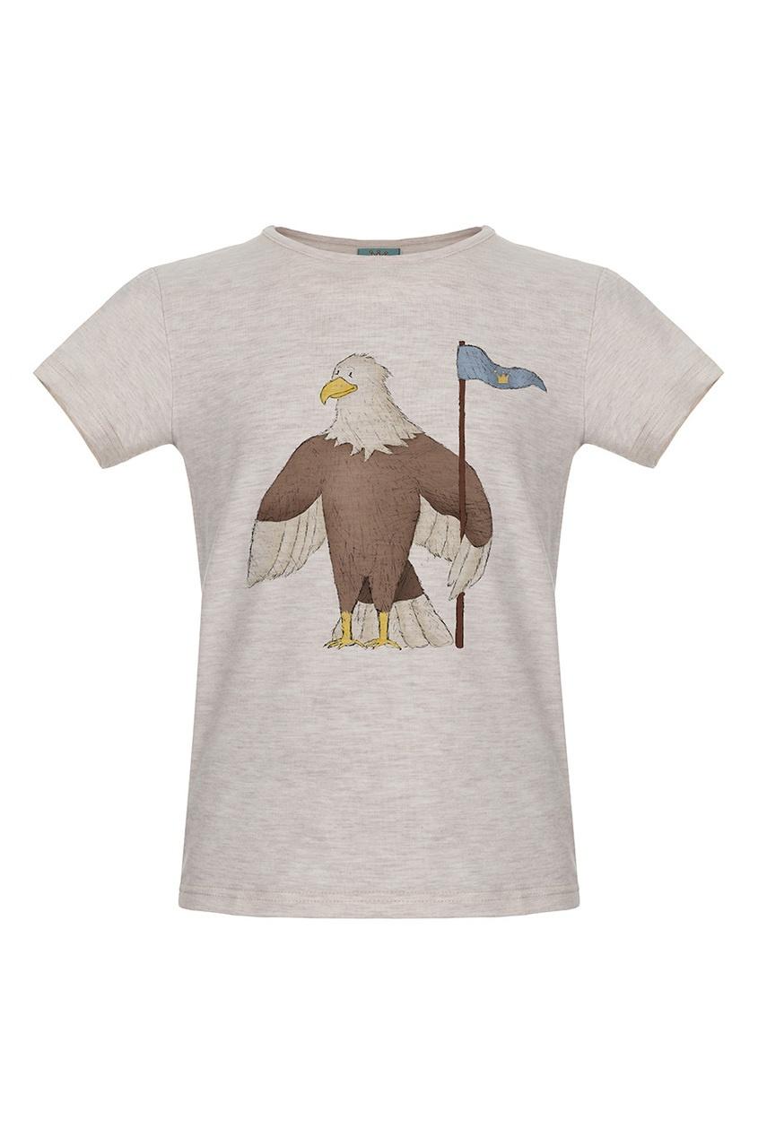 Бежевая футболка с орлом