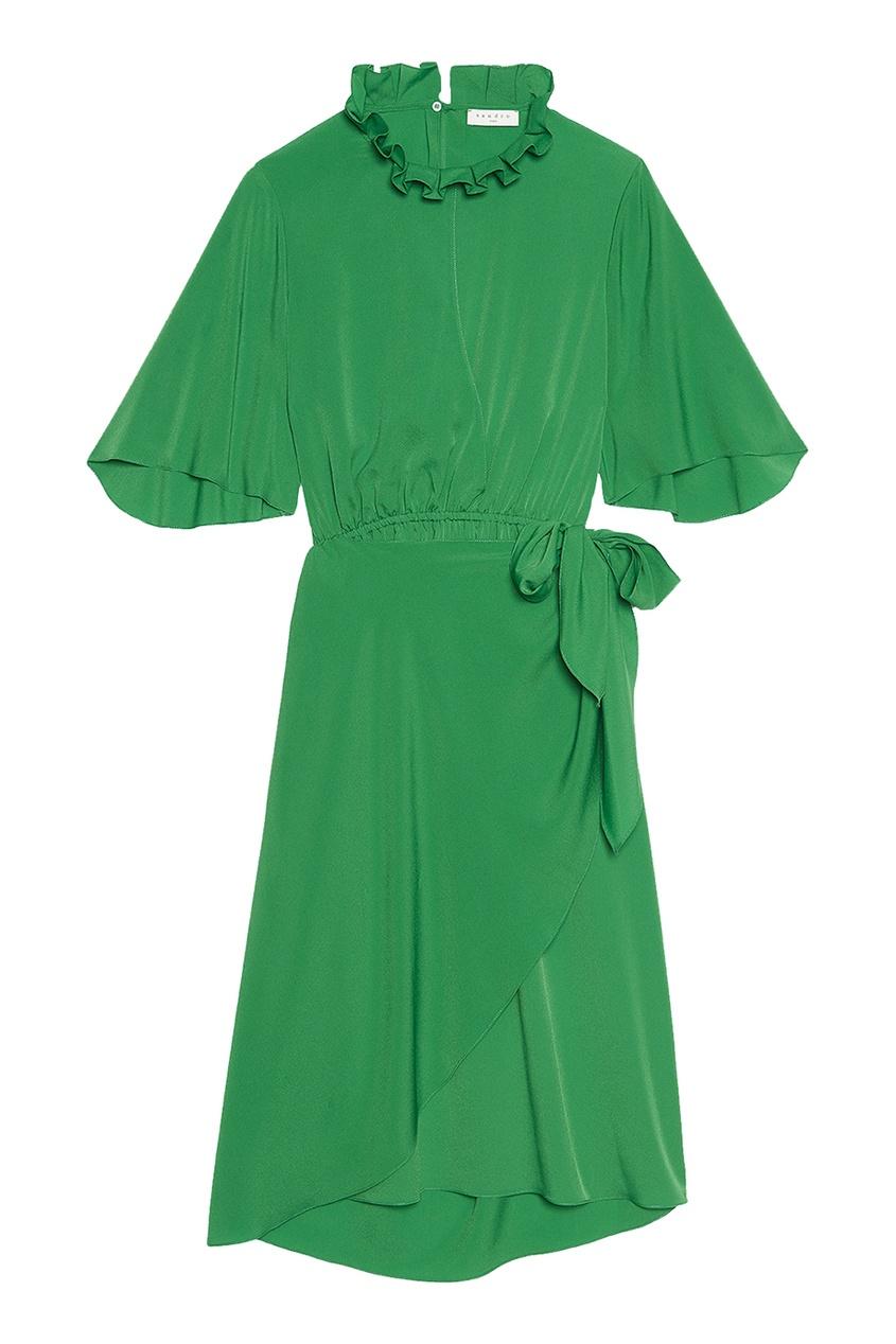 Sandro Зеленое платье с запахом толстовка huf new york box logo crew