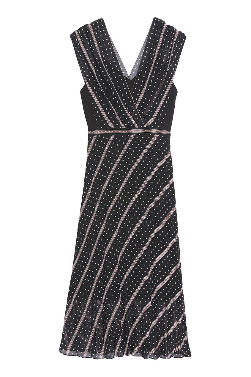 Черное платье с контрастным принтом