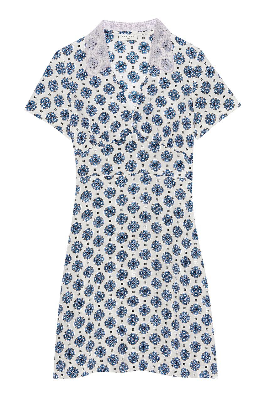 Sandro Шелковое платье с ажурным воротником