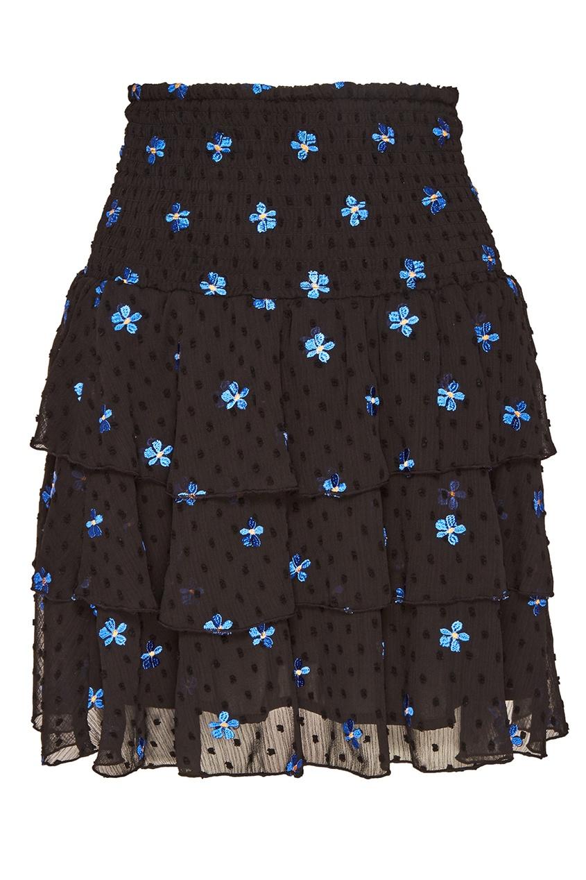 Черная юбка с вышивкой и оборками