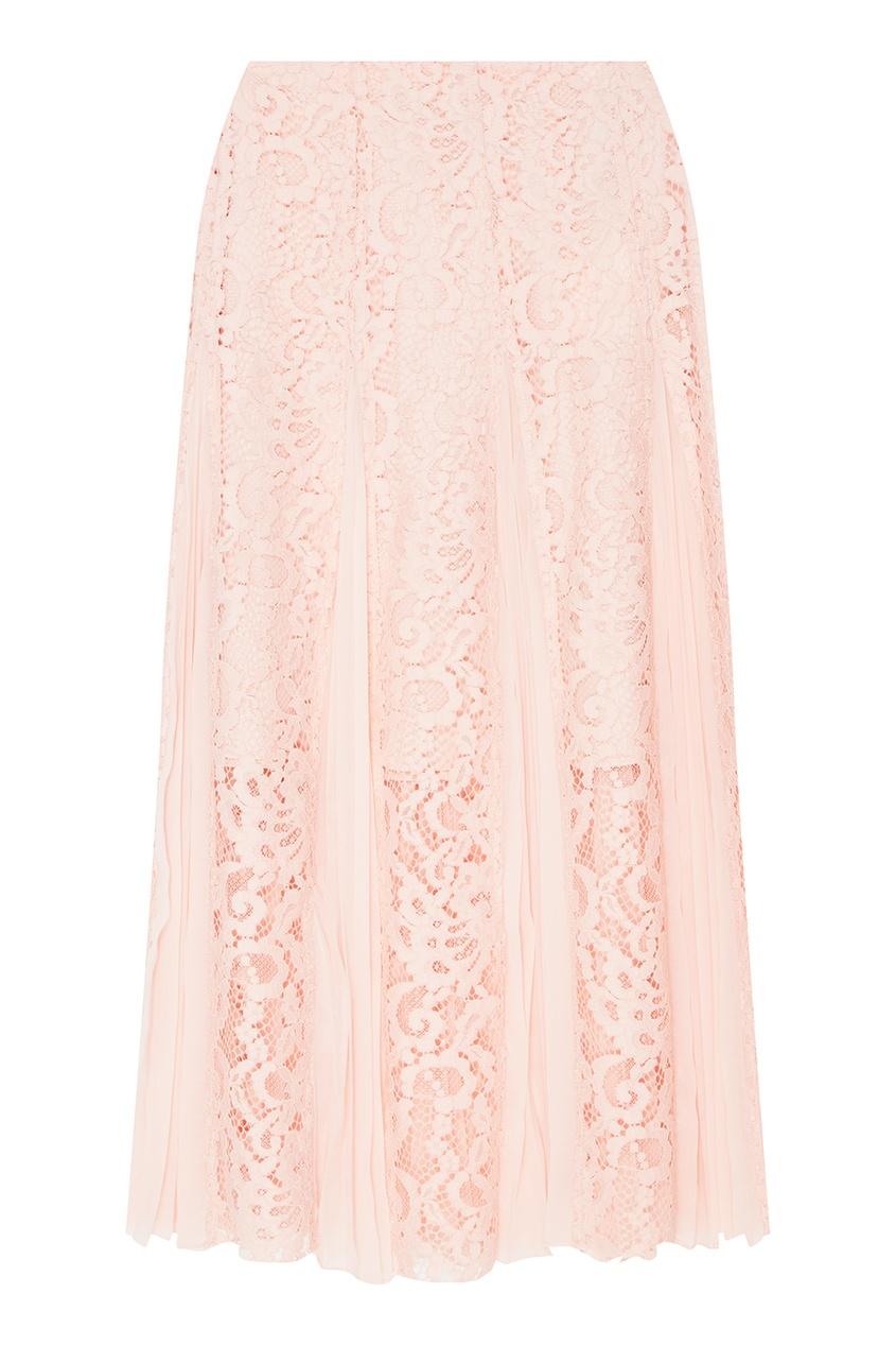 Sandro Розовая кружевная юбка с плиссировкой sandro джинсовая юбка с декоративной шнуровкой page 3