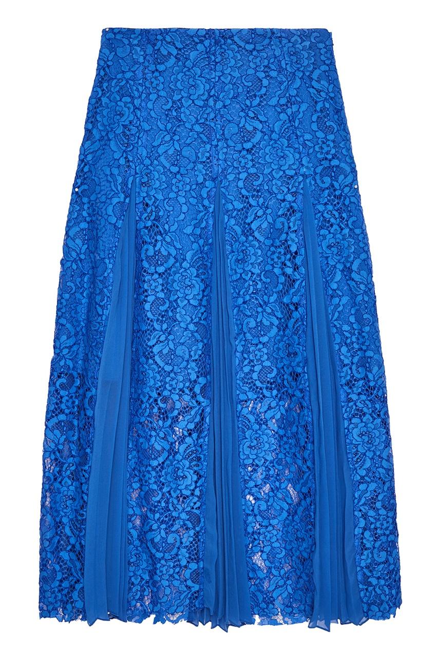 Sandro Синяя юбка с плиссированными вставками sandro джинсовая юбка с декоративной шнуровкой page 3