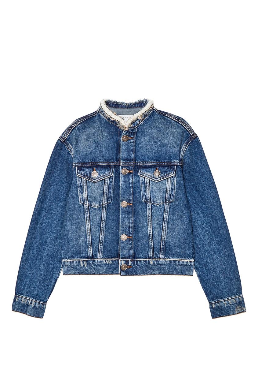 Sandro Голубая джинсовая куртка с отделкой sandro джинсовая юбка с декоративной шнуровкой page 3