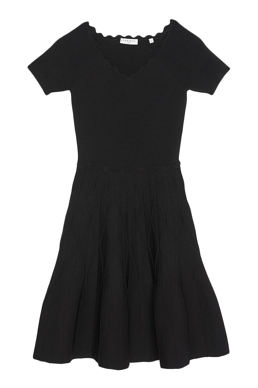 Sandro Короткое черное платье черное платье со складками 46