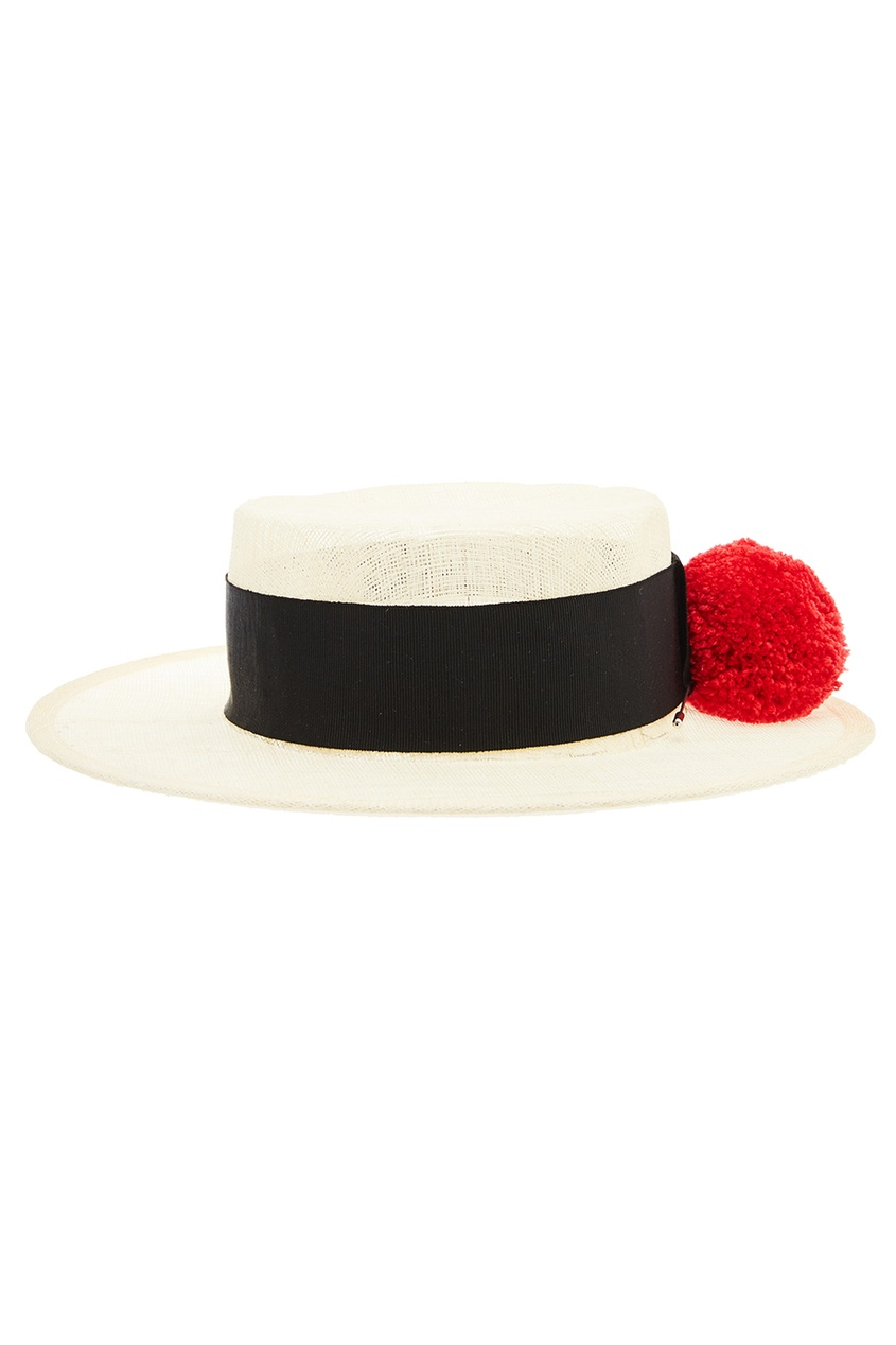 Соломенная шляпа с помпоном