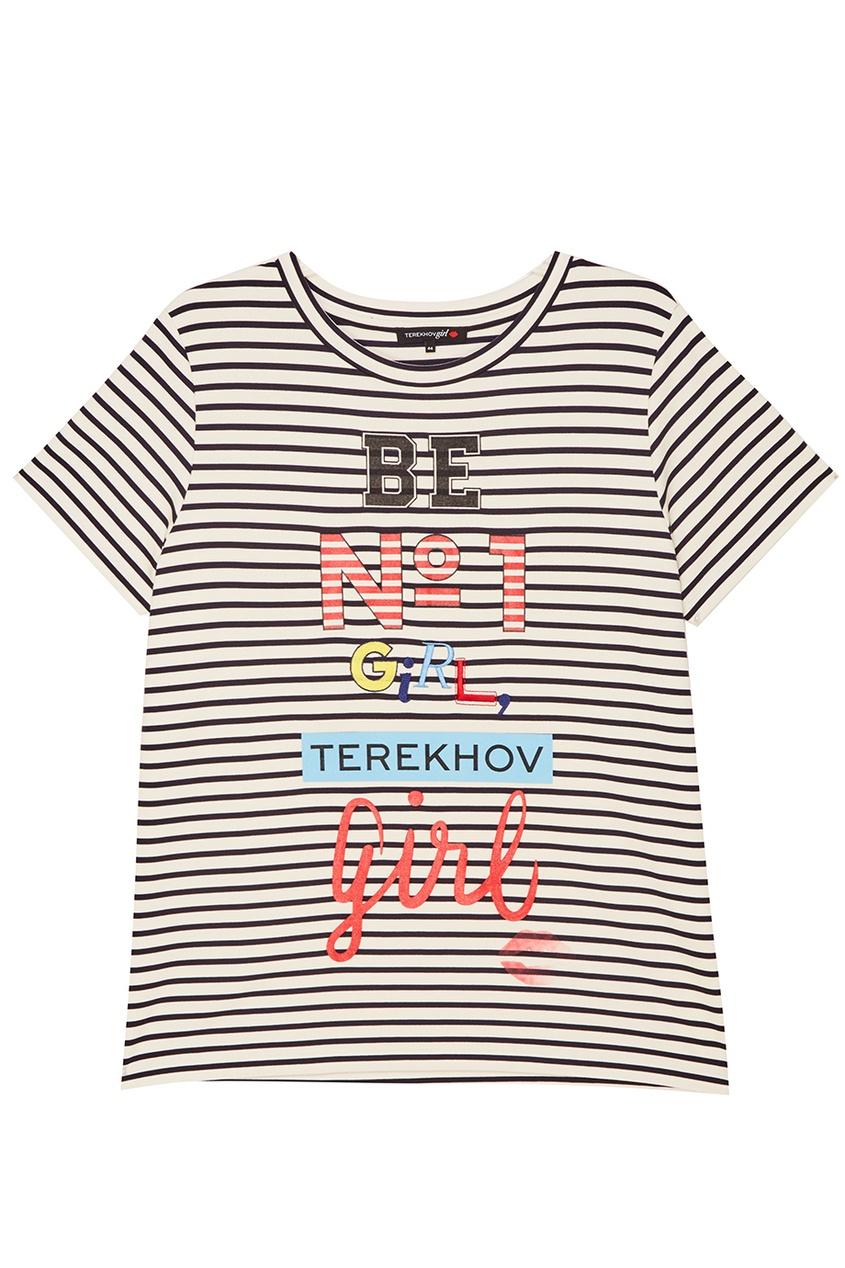 Terekhov Girl Тельняшка с разноцветными надписями нейлоновые чулки с надписями