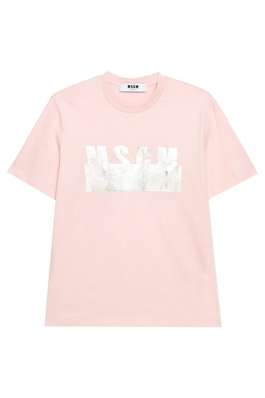 MSGM Розовая футболка с серебристым логотипом msgm одежда