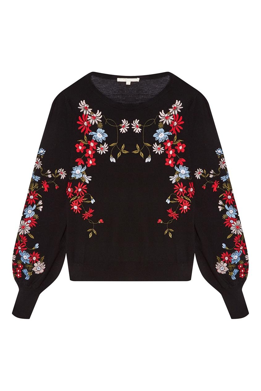Maje Черный пуловер с цветочной вышивкой пуловер с вышивкой petite cherry 3 12 лет