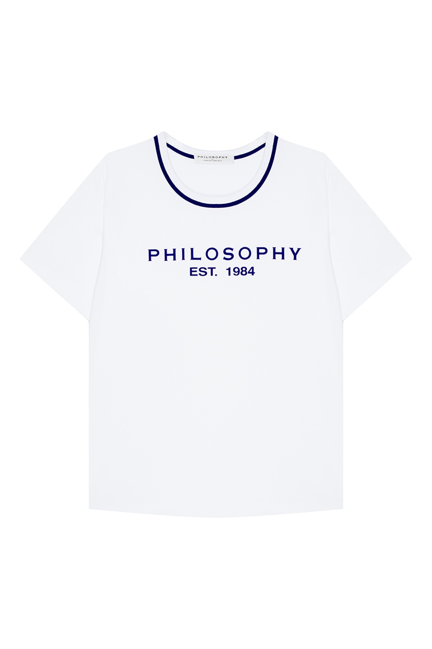 Philosophy Di Lorenzo Serafini Белая футболка из хлопка с логотипом цена