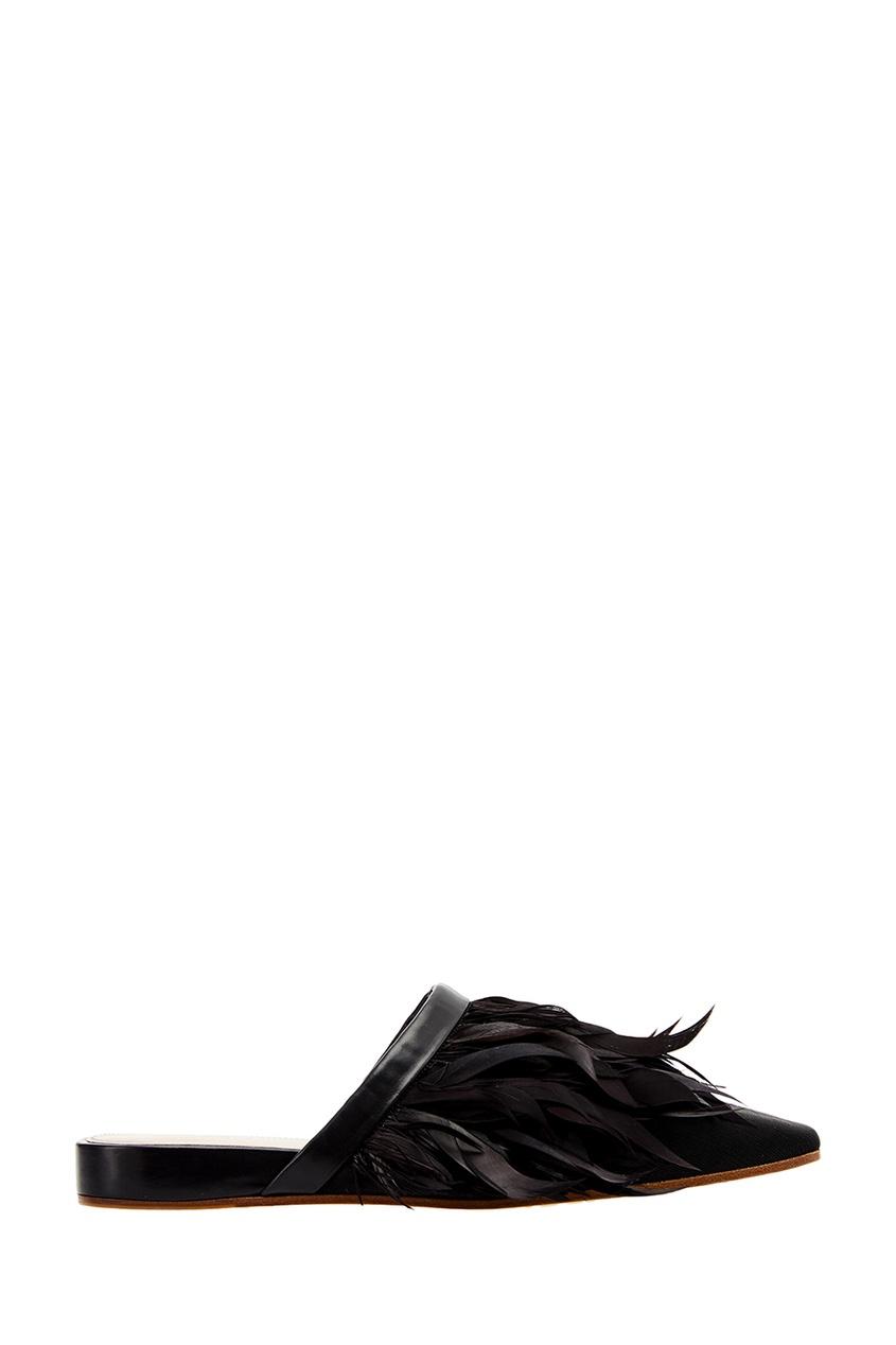 Premiata Черные слиперы с перьями