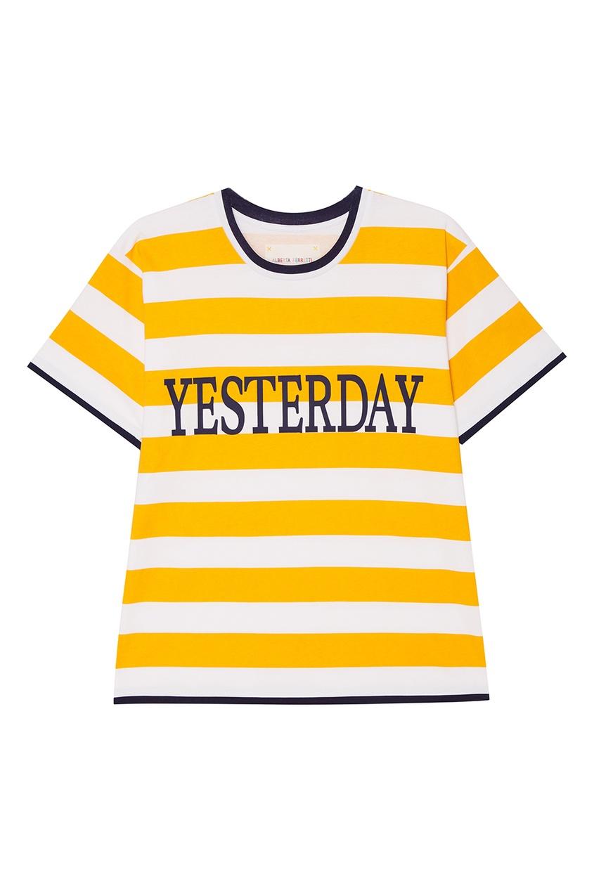 все цены на Alberta Ferretti Хлопковая футболка в полоску