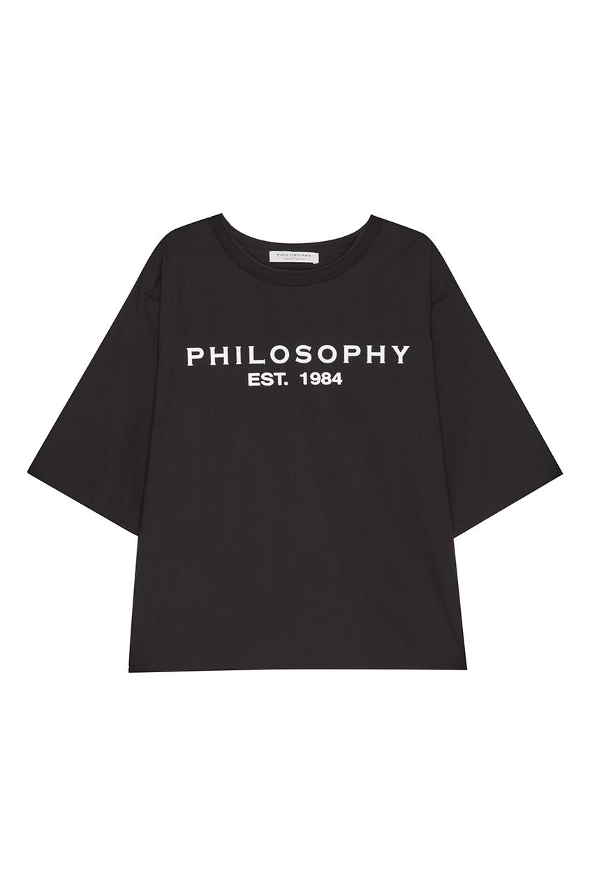 Philosophy Di Lorenzo Serafini Черная футболка с логотипом цена