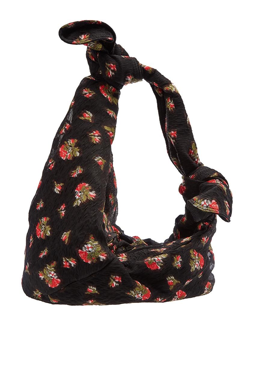 Асимметричная сумка-хобо из текстиля