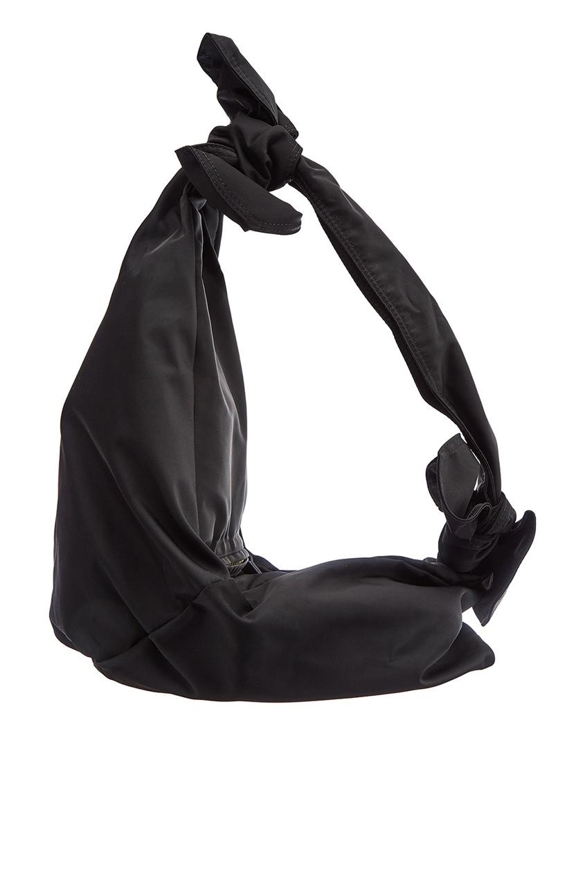 Черная асимметричная сумка-хобо