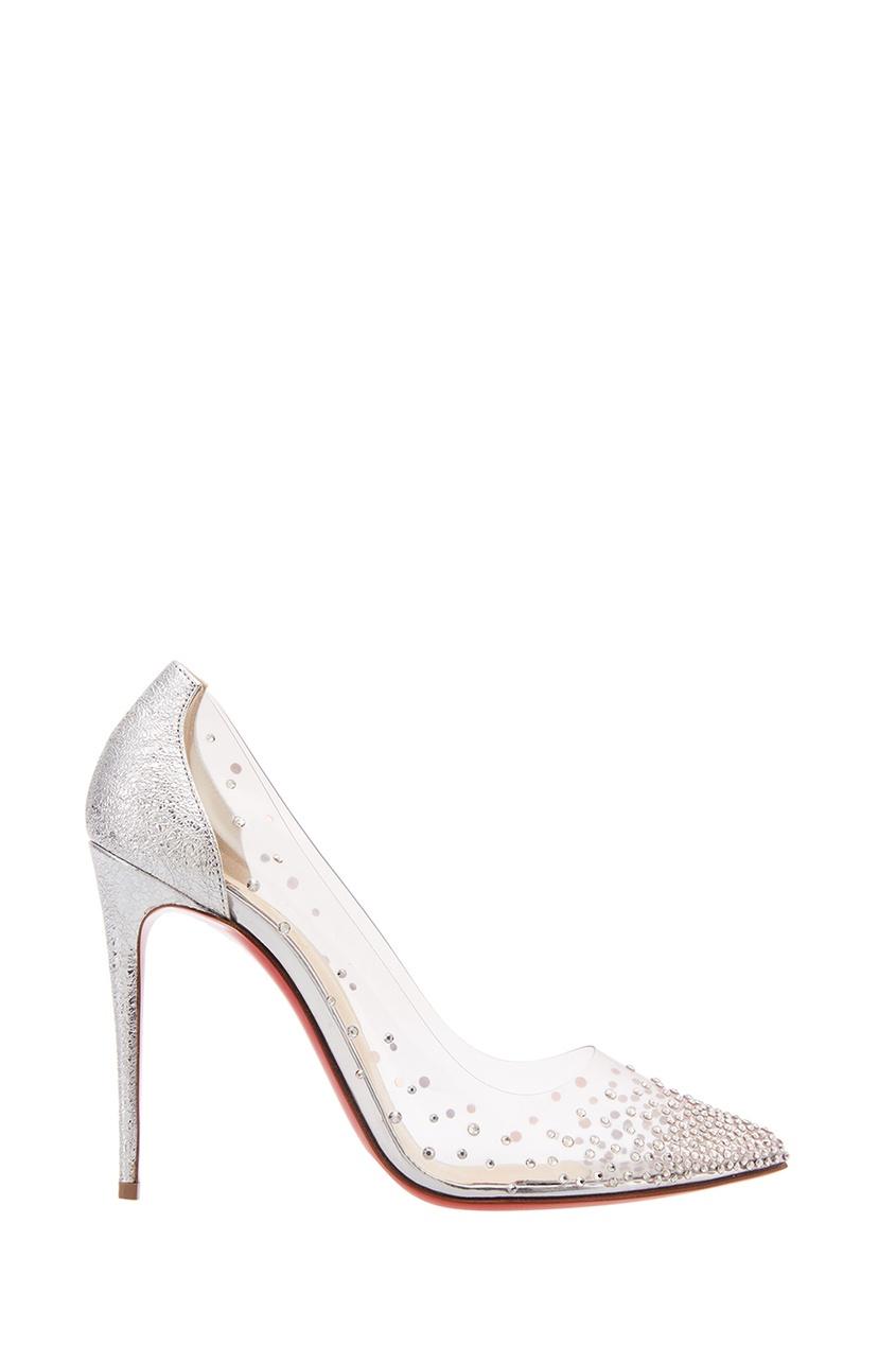 женские туфли christian louboutin, серебряные