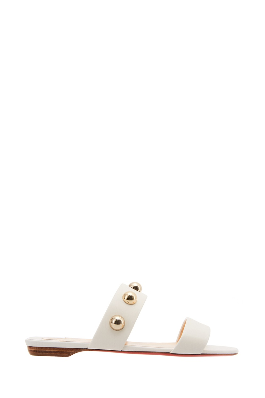 Christian Louboutin Белые кожаные сандалии Simple Bille Flat