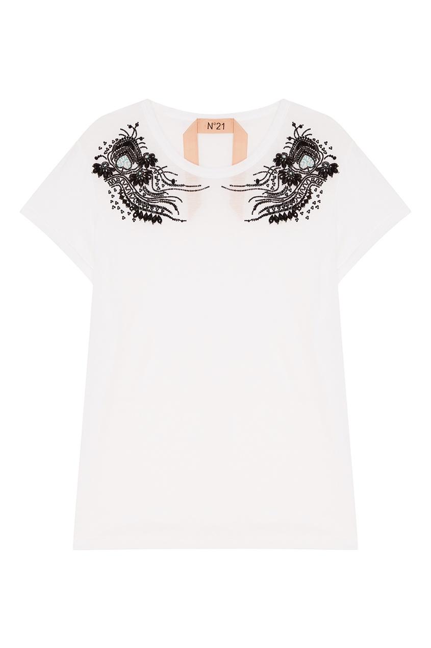 No.21 Белая футболка с контрастным декором футболка белая catimini ут 00011611