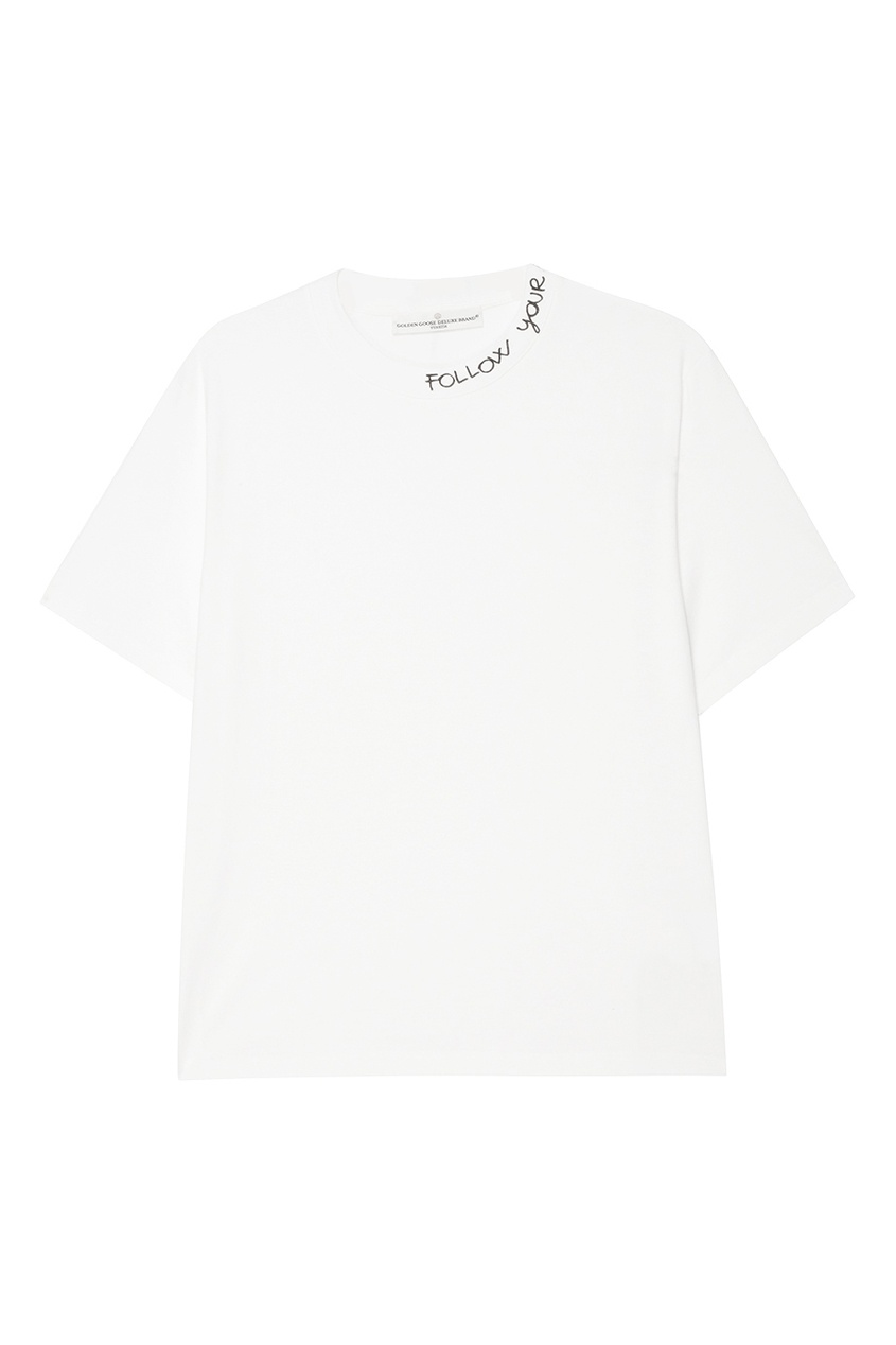 Golden Goose Deluxe Brand Белая футболка с надписью футболка белая catimini ут 00011611