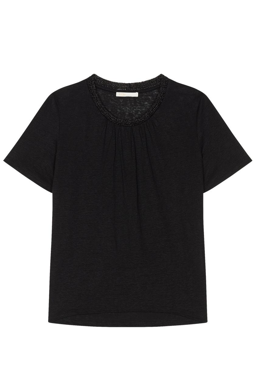Maje Черная футболка с объемной отделкой