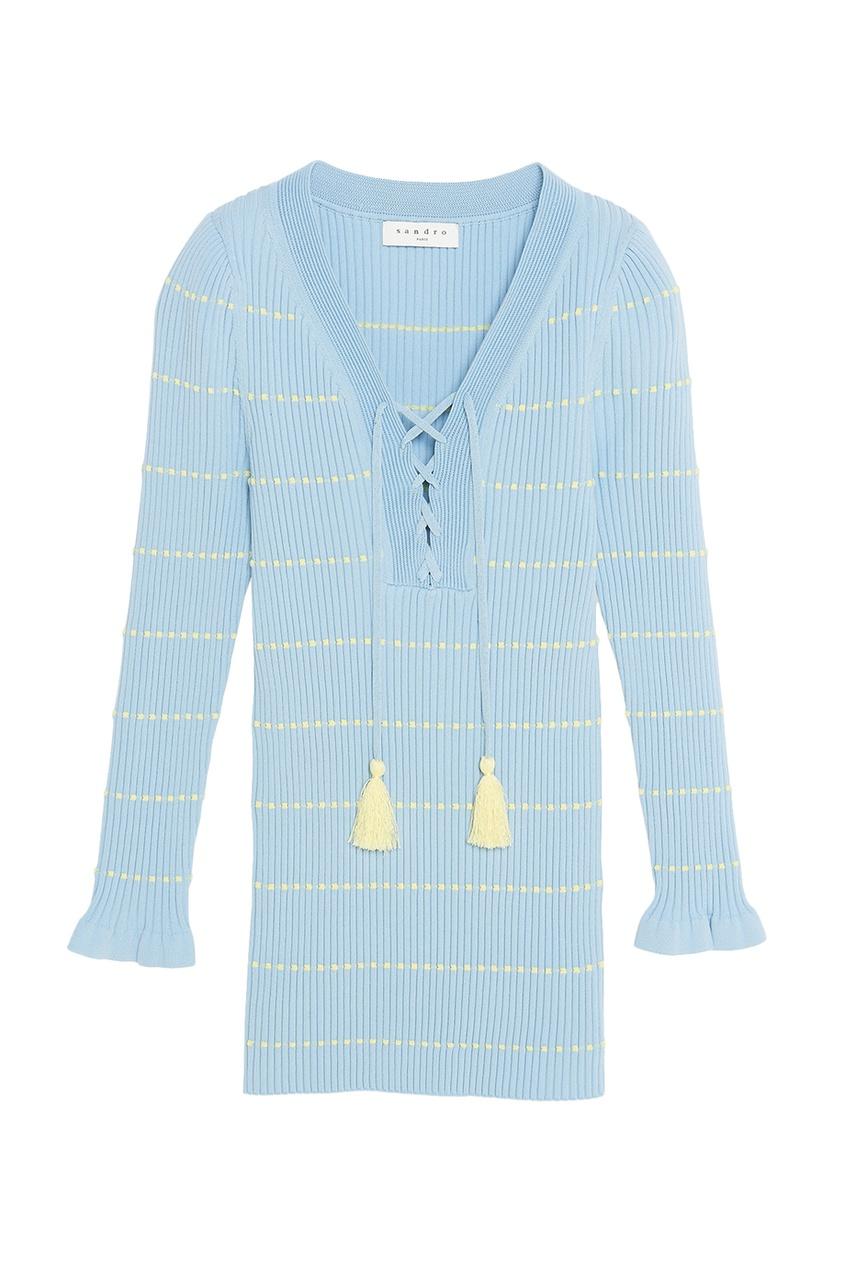 Sandro Голубой пуловер с завязками sandro джинсовая юбка с декоративной шнуровкой page 3