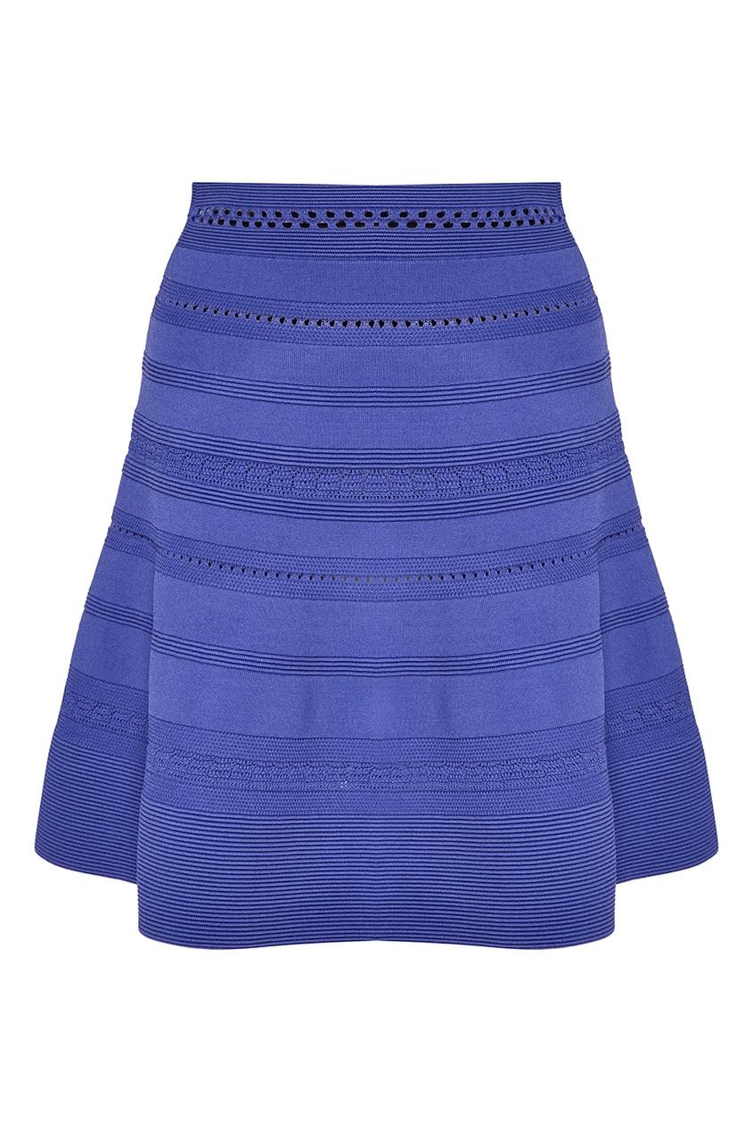 Синяя юбка с рельефной отделкой