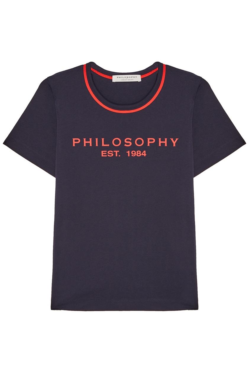 Philosophy Di Lorenzo Serafini Синяя футболка с контрастным логотипом цена