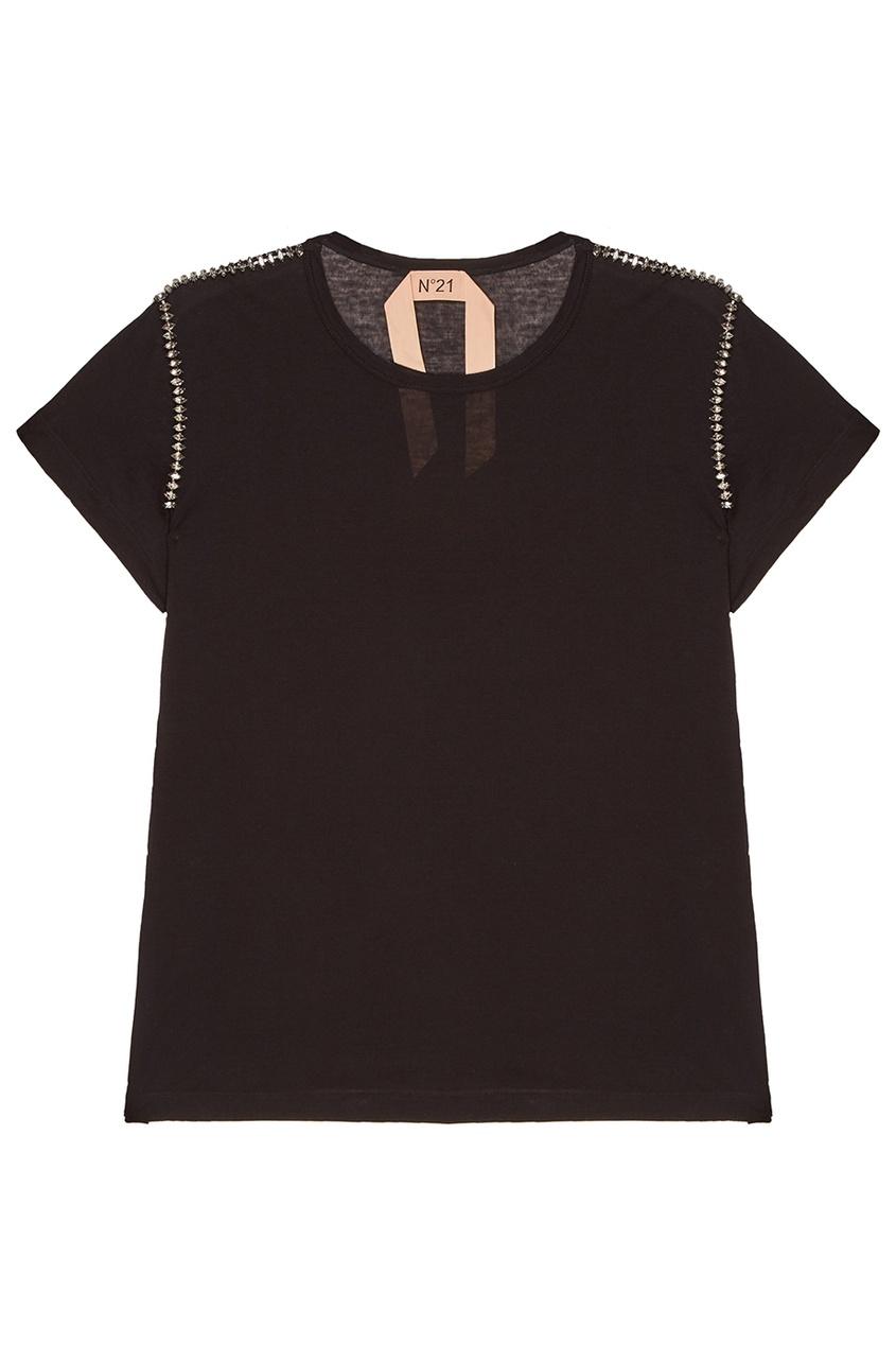 No.21 Черная футболка с кристаллами