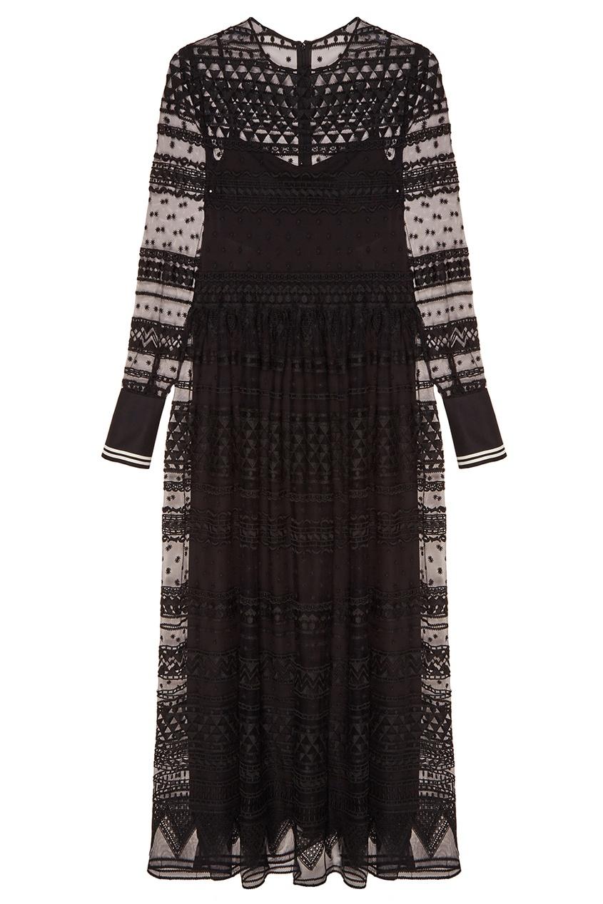 Черное платье из вышитой сетки
