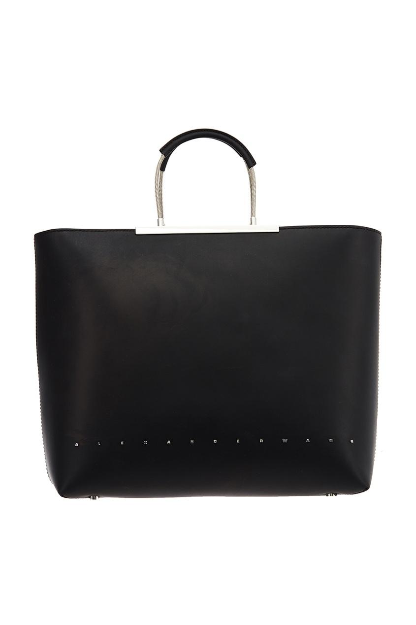Черная кожаная сумка-тоут