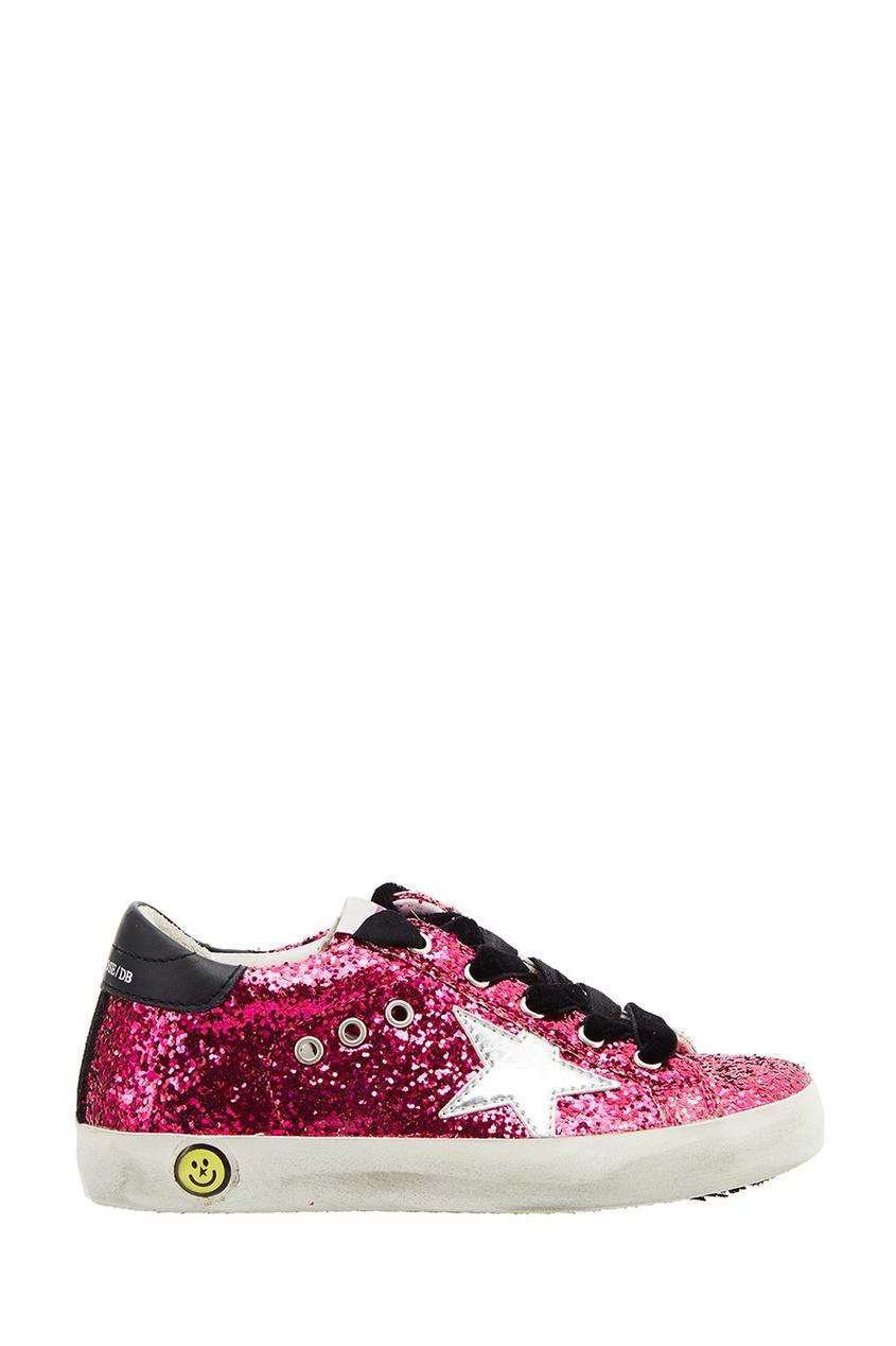 Golden Goose Deluxe Brand Kids Розовые кеды с блестками Superstar adidas x pharrell little kids superstar supercolor