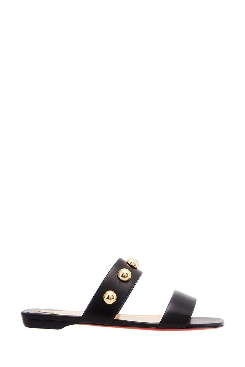 Christian Louboutin Черные кожаные сандалии Simple Bille Flat
