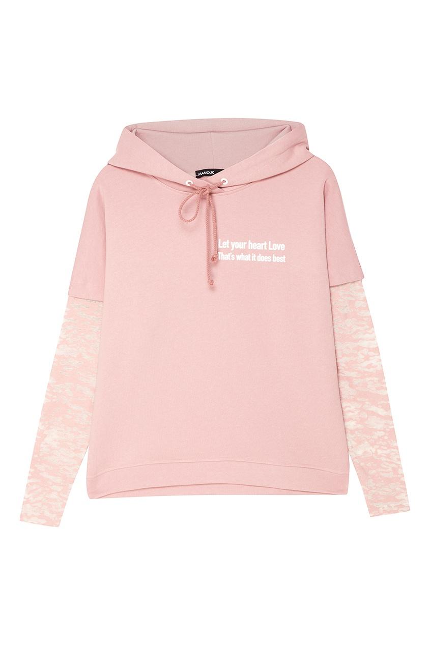 Manouk Розовое хлопковое худи