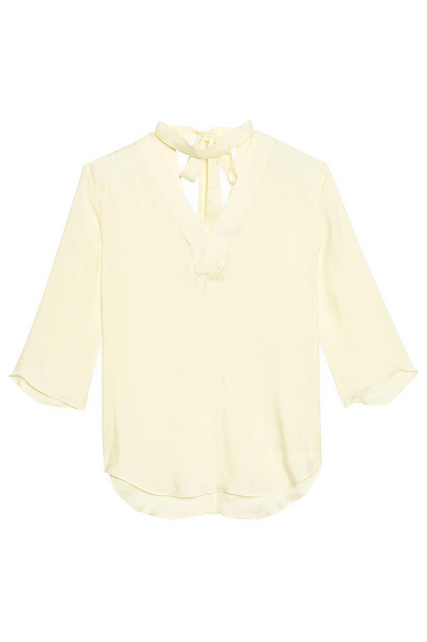 Желтая блузка с завязками на воротнике
