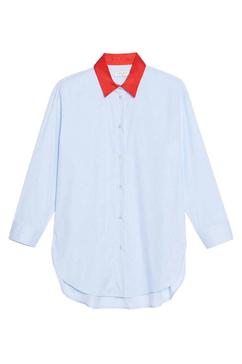 Sandro Голубая рубашка с красным воротником