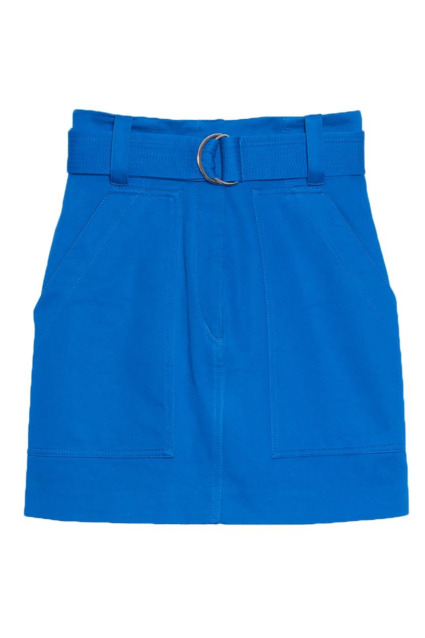 Короткая синяя юбка с поясом