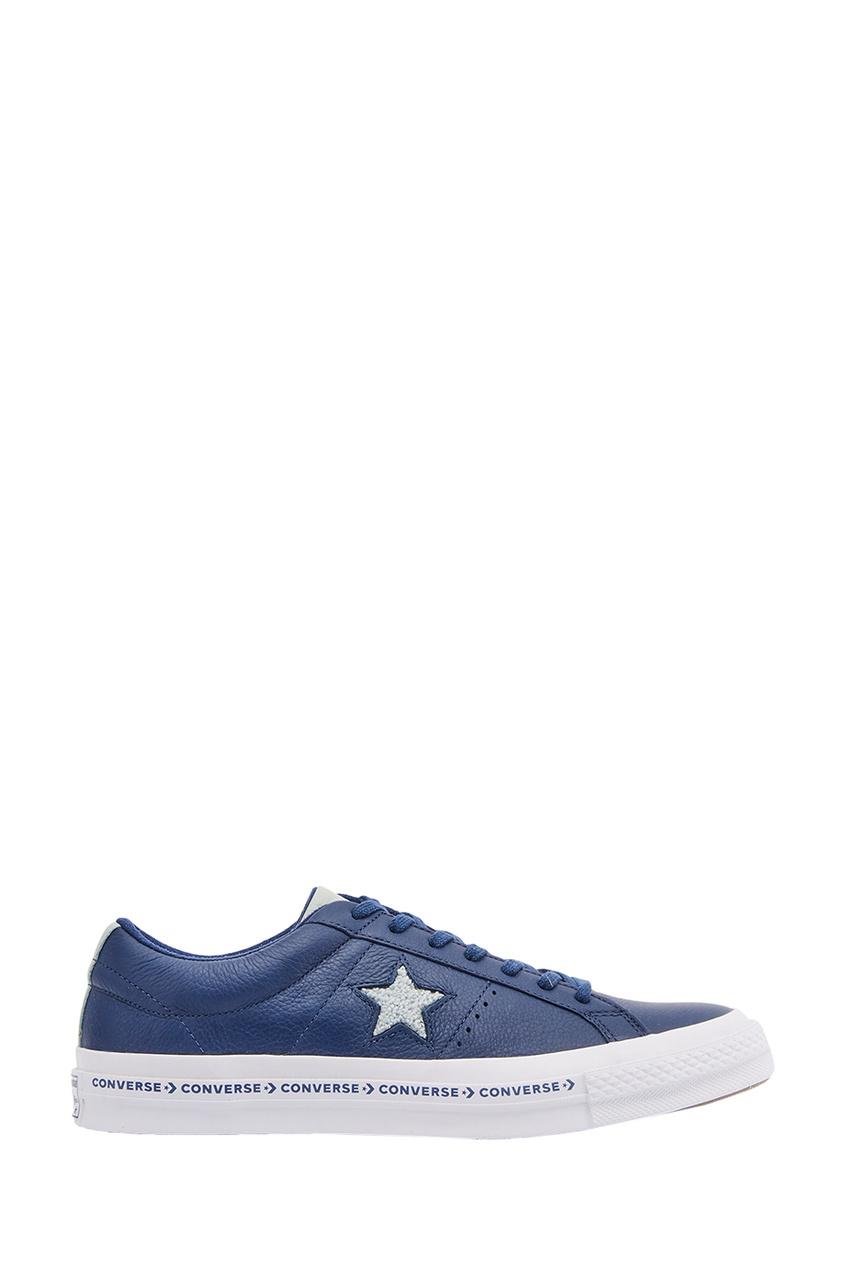 Синие кожаные кеды One Star