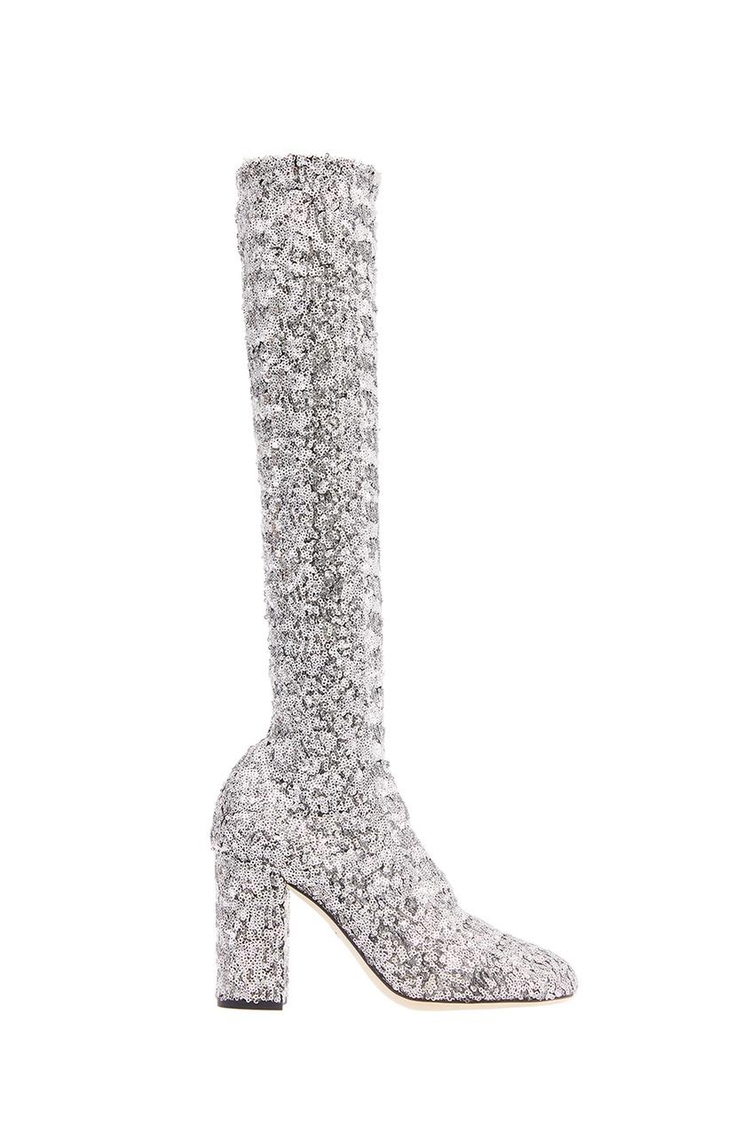Сапоги с серебристыми пайетками Dolce&Gabbana