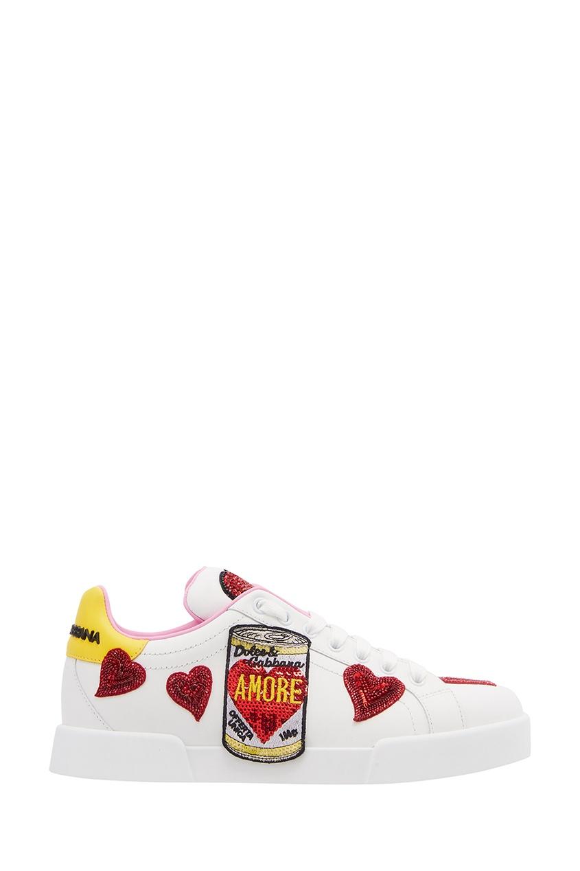 Dolce&Gabbana Белые кожаные кроссовки с нашивками
