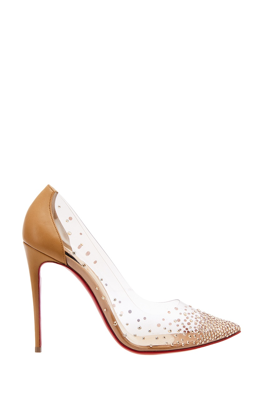 Christian Louboutin Бежевые туфли с кристаллами Degrastrass 100