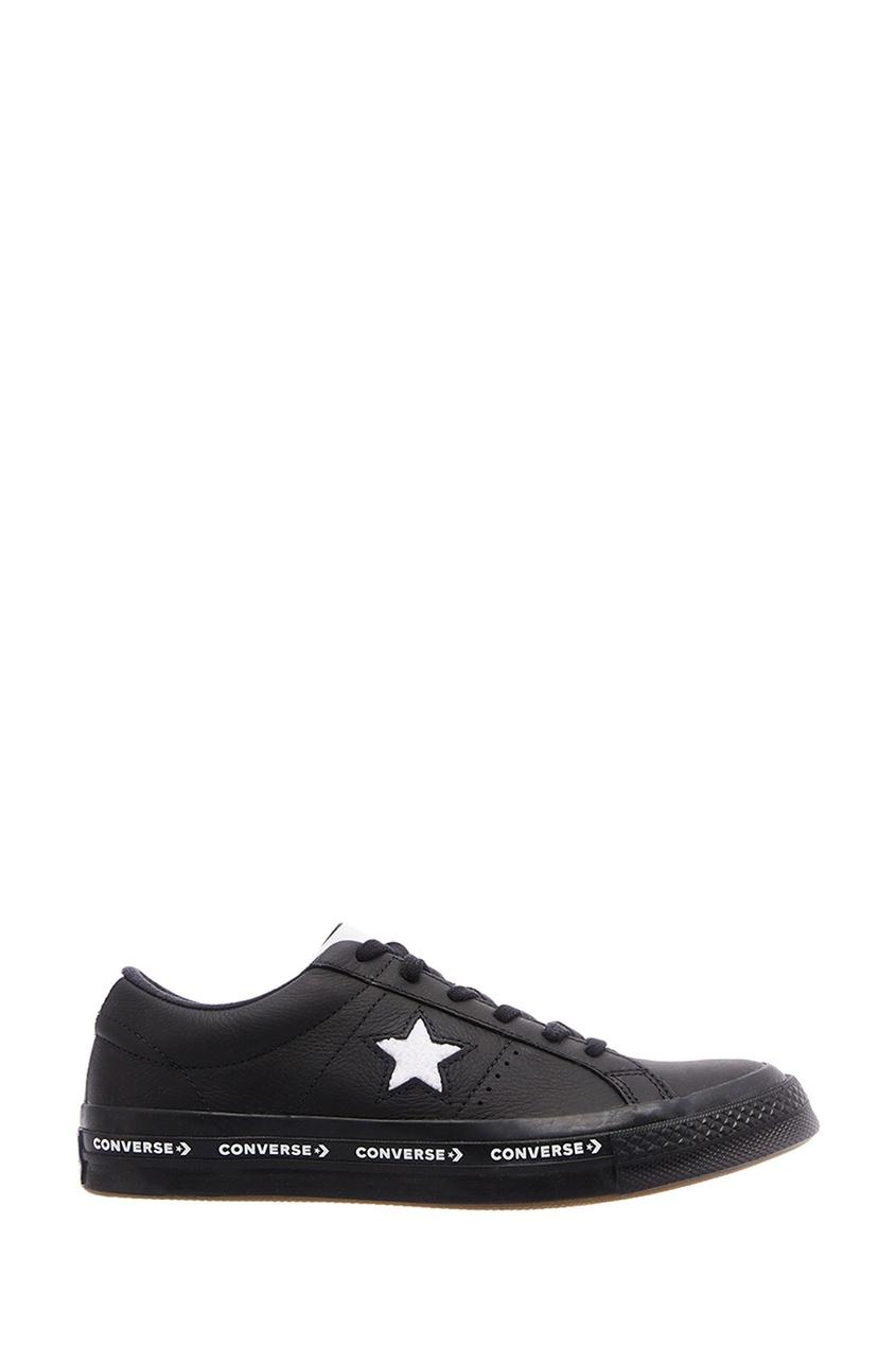 Черные кожаные кеды One Star