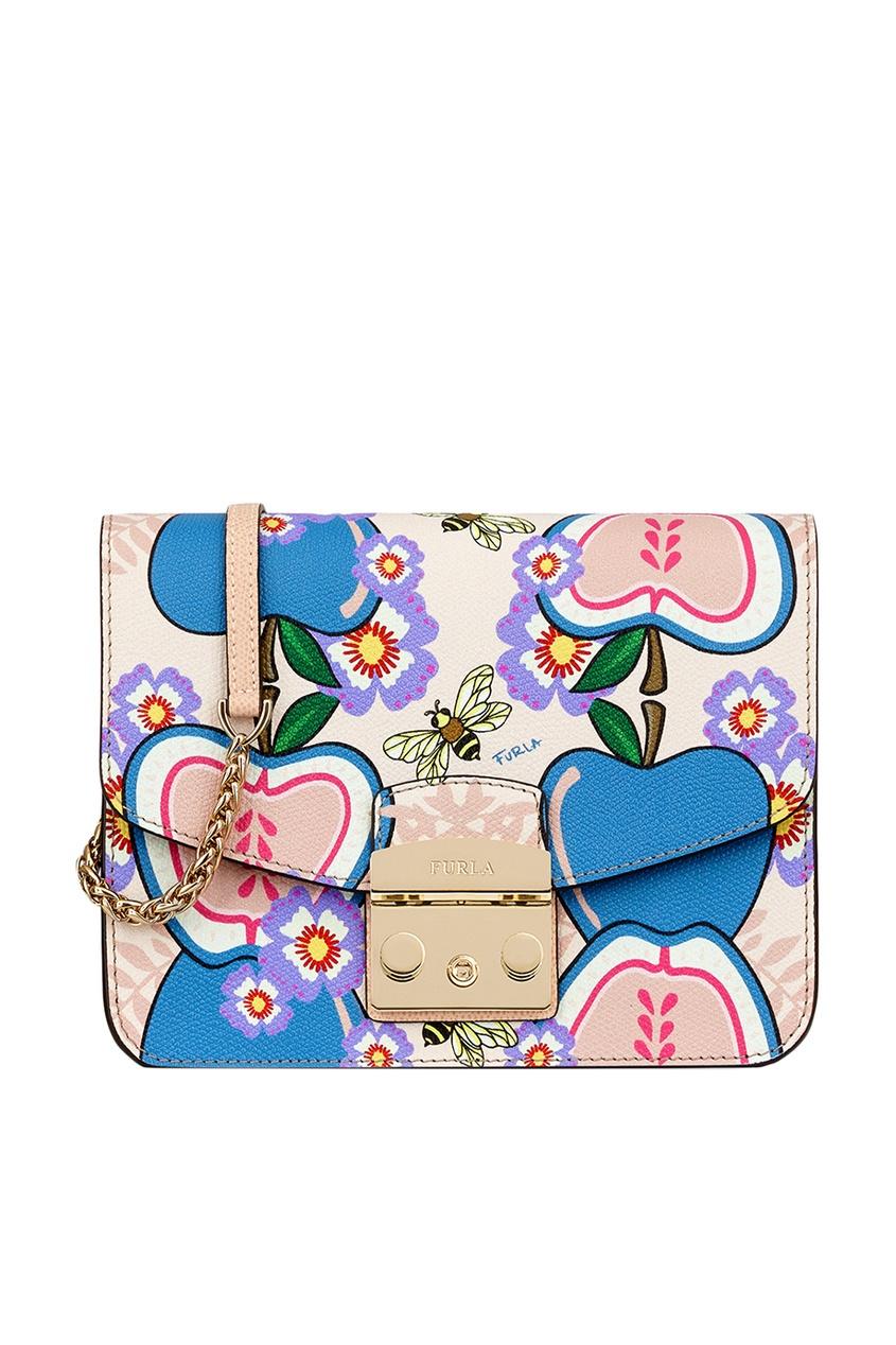 FURLA Бежевая сумка с принтом Metropolis кошелек furla furla fu003bwzle26