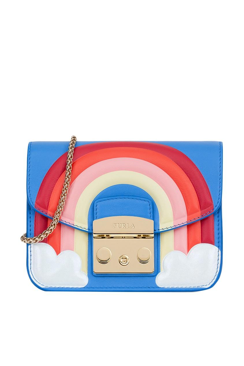 Кожаная сумка с радугой Metropolis Fantasia Furla
