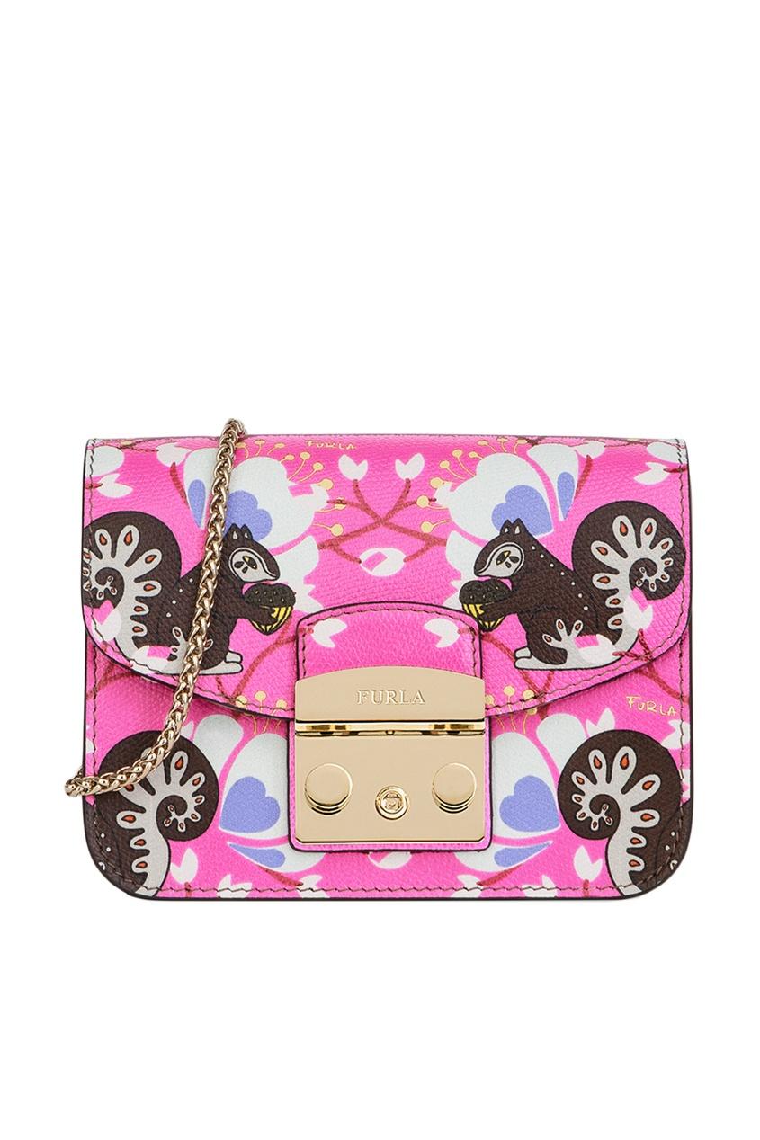 FURLA Розовая сумка из кожи с принтом Metropolis furla сумка с павлинами metropolis
