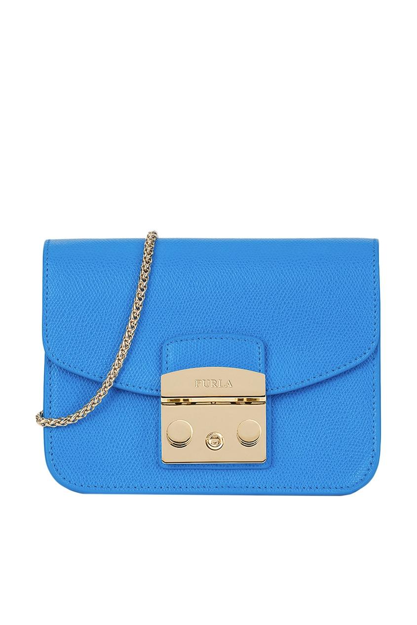 Купить со скидкой Синяя сумка из текстурированной кожи Metropolis
