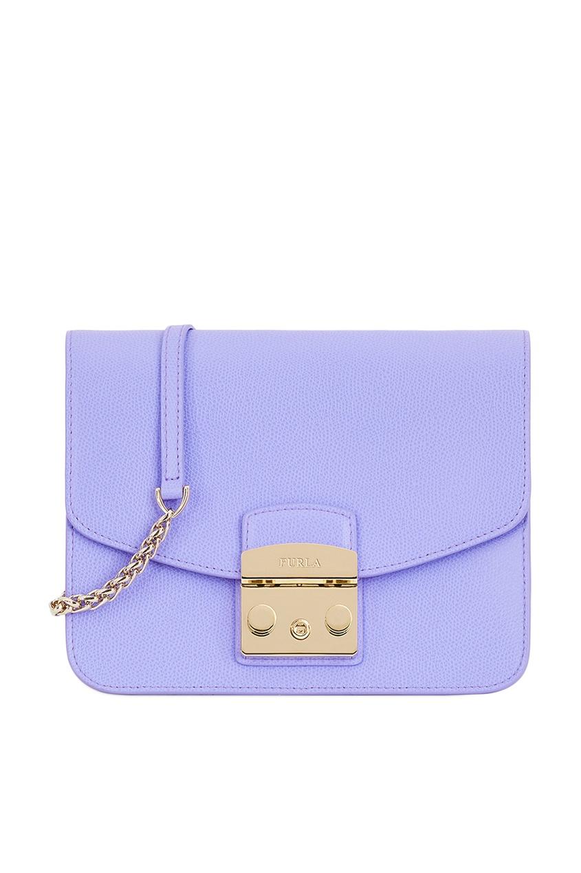 Фиолетовая сумка из кожи Metropolis Furla