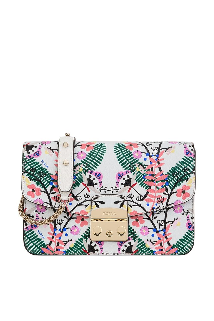 Белая сумка с цветами Metropolis Furla
