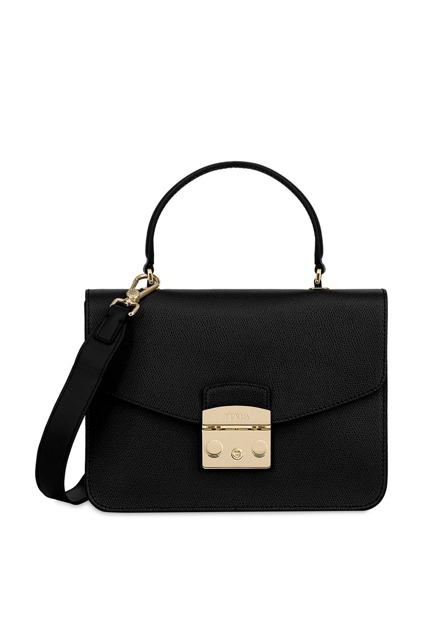 FURLA Черная кожаная сумка Metropolis кошелек furla furla fu003bwzle26