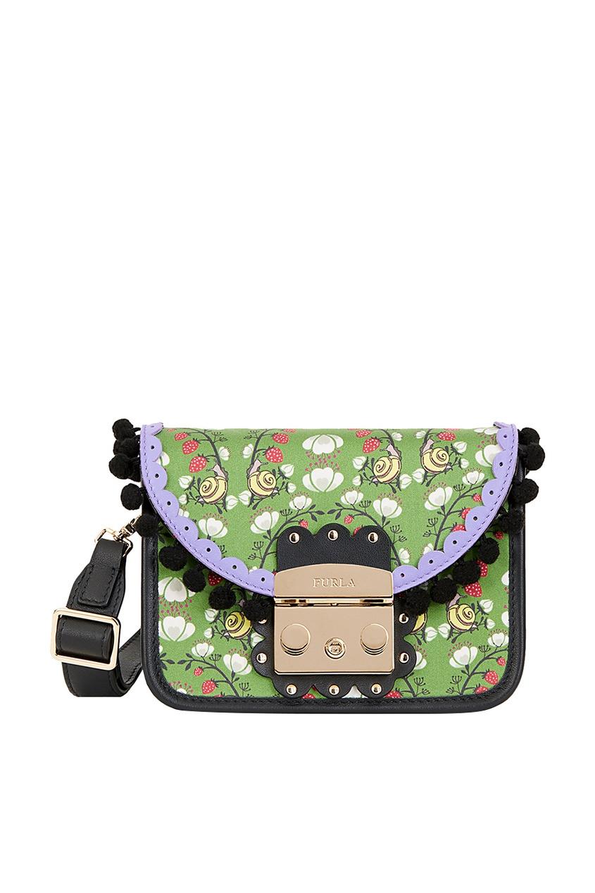 Зеленая текстильная сумка Metropolis Serenissima Furla